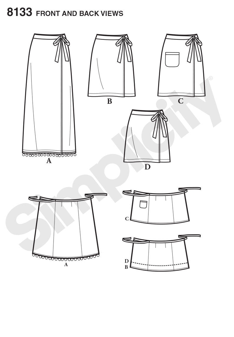 S8133 Misses' Learn to Sew Wrap Skirts