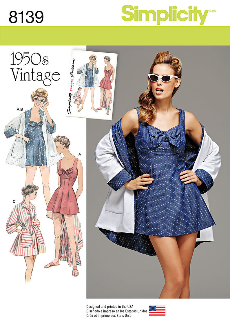 S8139 Misses' Vintage bathing dress & beach coat