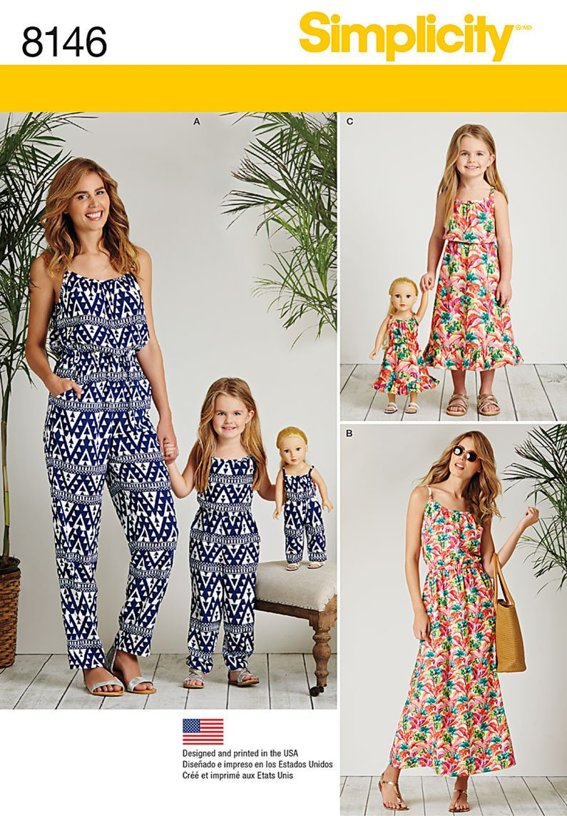 "Simplicity Pattern 8146 pull on jumpsuits and dresses for miss, child, and 18"" dolls from Jaycotts Sewing Supplies"