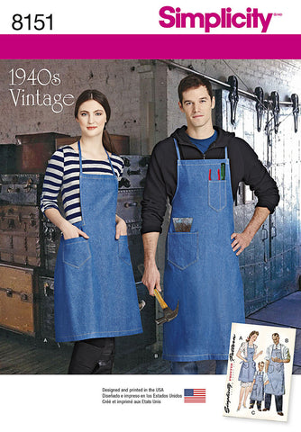 S8151 Pattern - Vintage Aprons for boys, girls, women & men