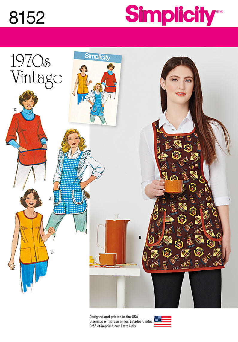 Simplicity Pattern 8152 aprons from the 1970's from Jaycotts Sewing Supplies
