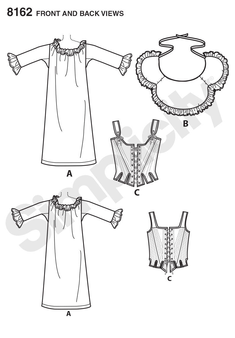 S8162 Misses' 18th Century Undergarments