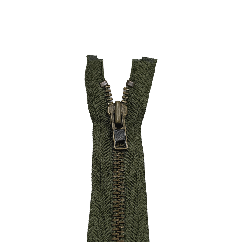 YKK Open End Zip - Heavy Duty, Antique Brass |  566 Khaki from Jaycotts Sewing Supplies