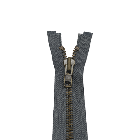 YKK Open End Zip - Heavy Duty, Antique Brass | Colour 578 Mid Grey