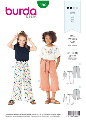 Burda Pattern 9302 Children's Pants with Elastic Waist – Culottes from Jaycotts Sewing Supplies