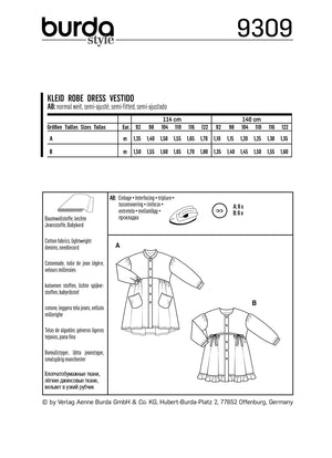 9309 Burda Sewing Pattern |  CHILD DRESS
