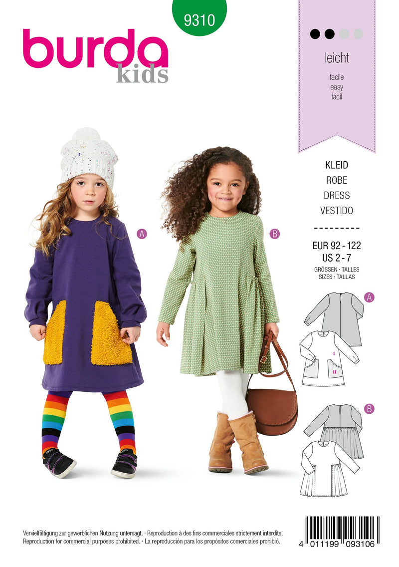 9310 Burda Sewing Pattern |  CHILD DRESS