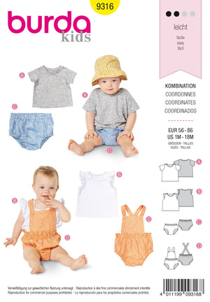 BD9316 Baby's sportswear sewing pattern from Jaycotts Sewing Supplies