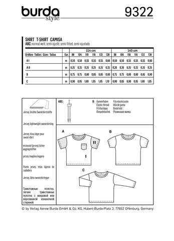 BD9322 Child's top sewing pattern