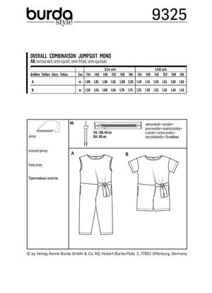 BD9325 Child's jumpsuit sewing pattern from Jaycotts Sewing Supplies