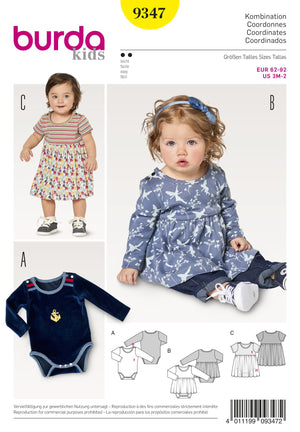 BD9347 Baby's Dress and Bodysuit | Burda style pattern