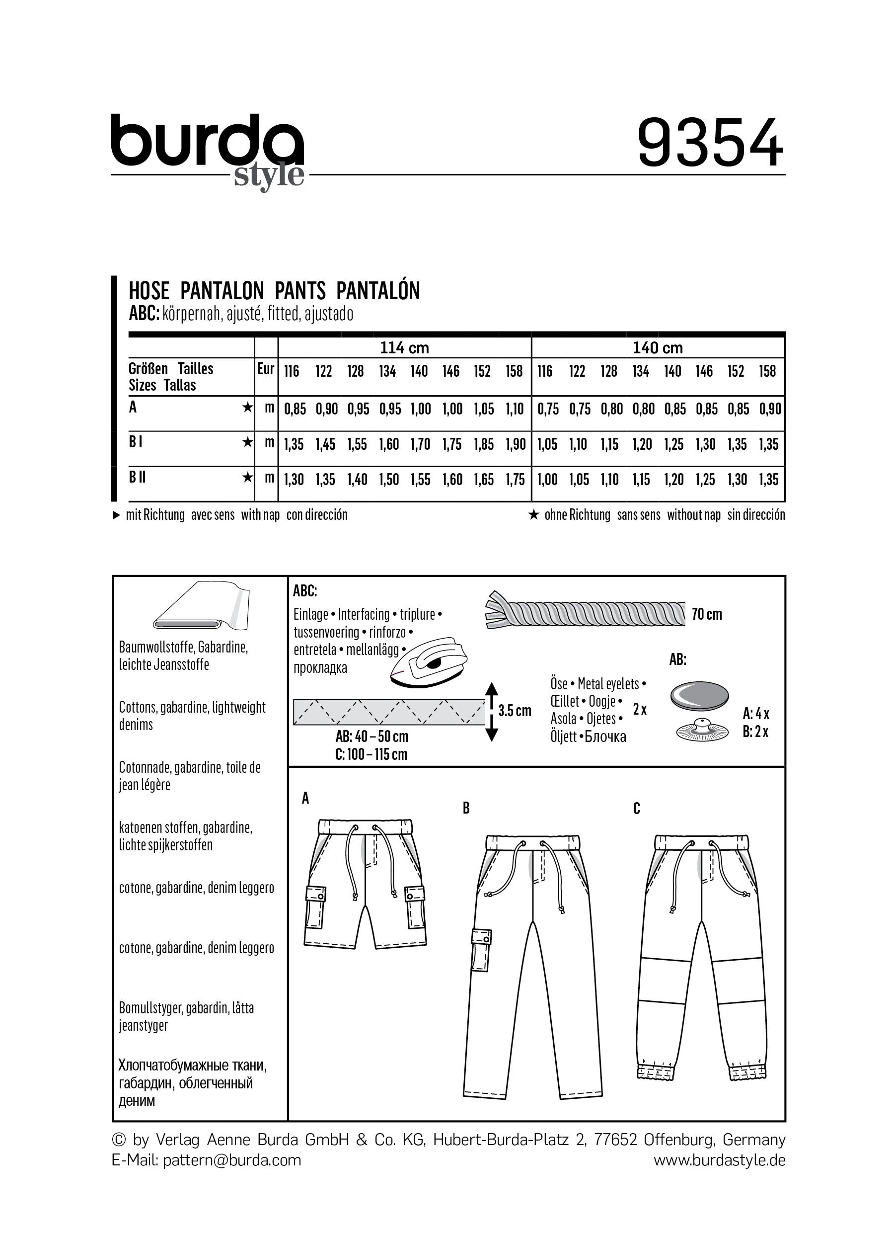 BD9354 Girl/Girl Plus Pant and Short | Burda style pattern