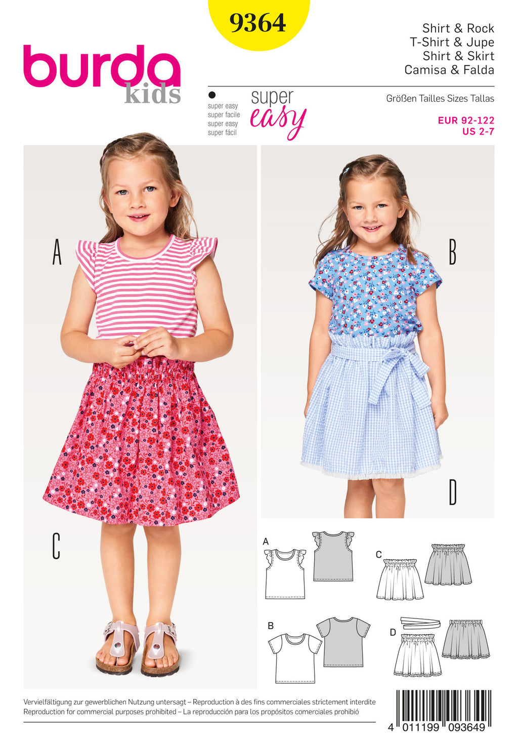 Burda Style Pattern BD9364 Child shirt and Elastic Skirt
