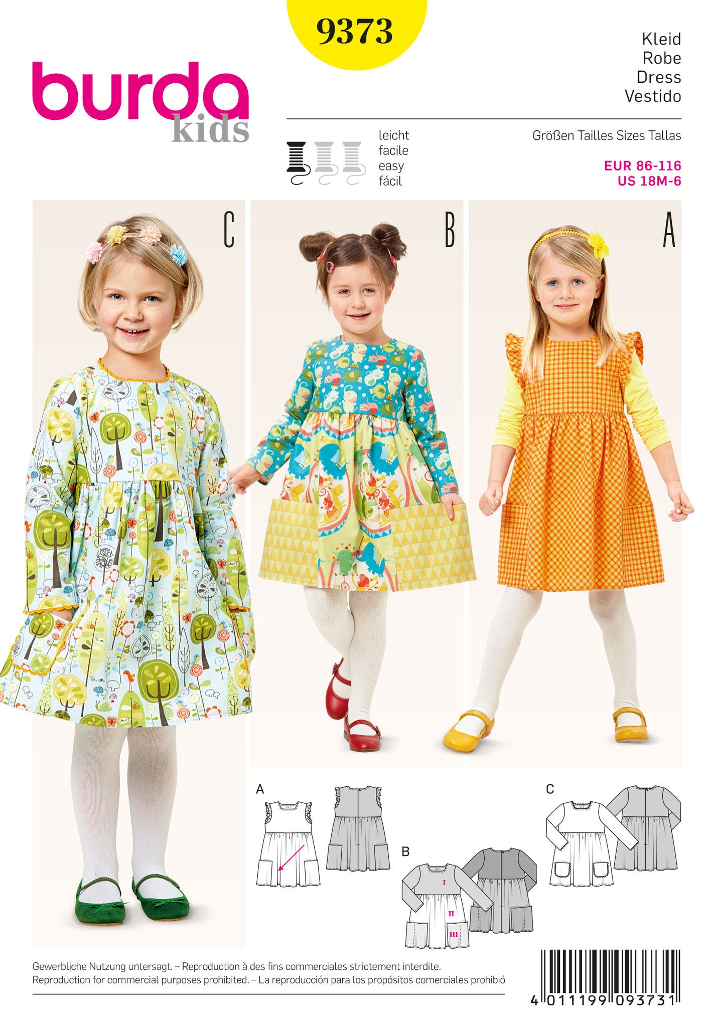 BD9373 Burda Style Pattern 9373 Childs Dress