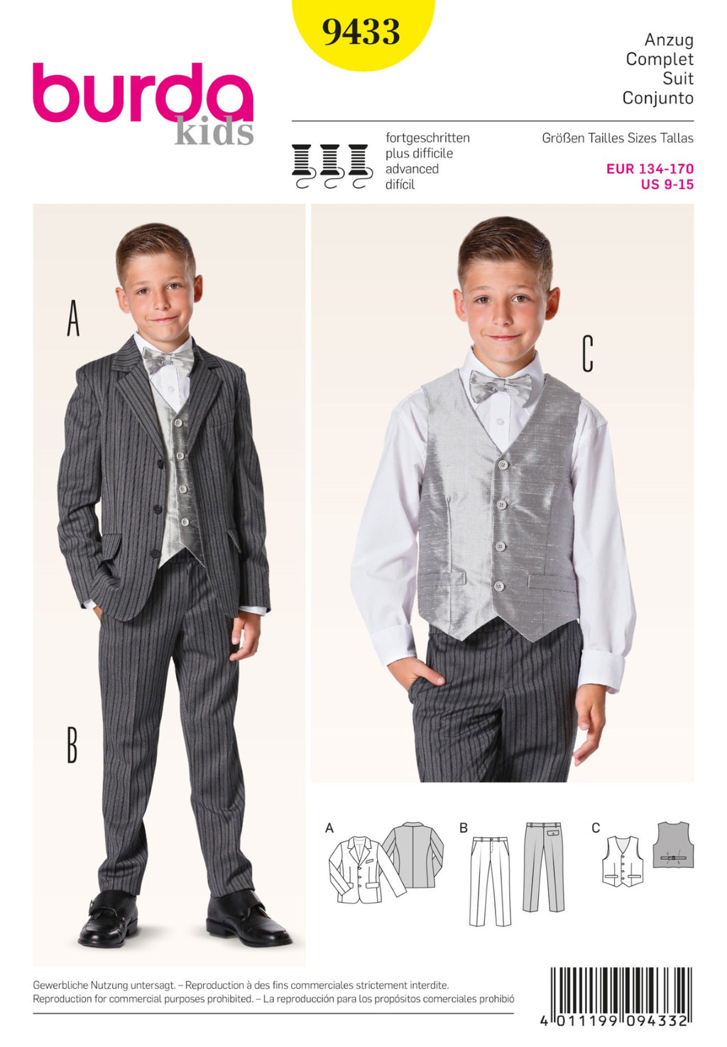 BD9433 Boys Suit | Advanced from Jaycotts Sewing Supplies