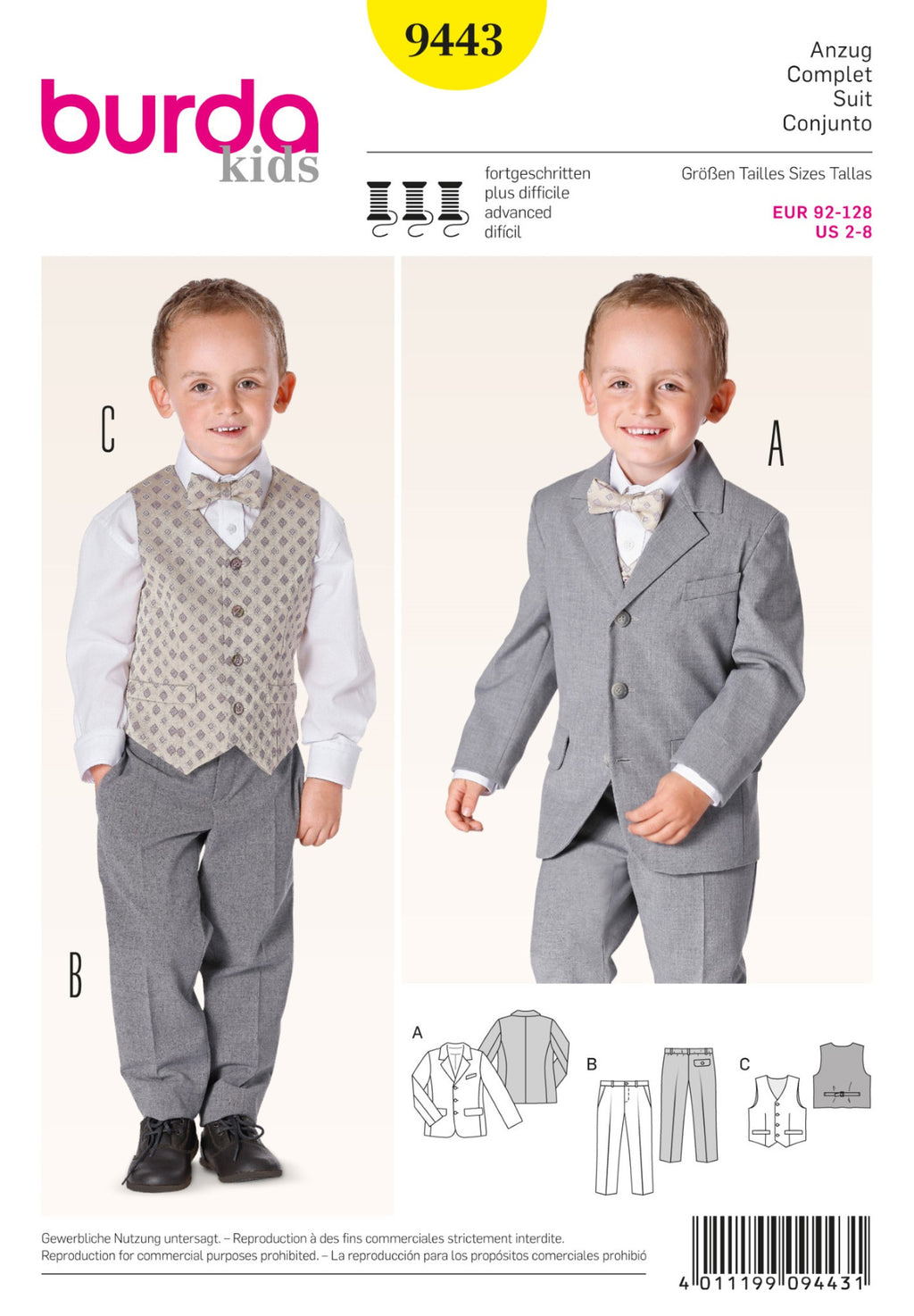 BD9443 Boys' Suit | Advanced from Jaycotts Sewing Supplies