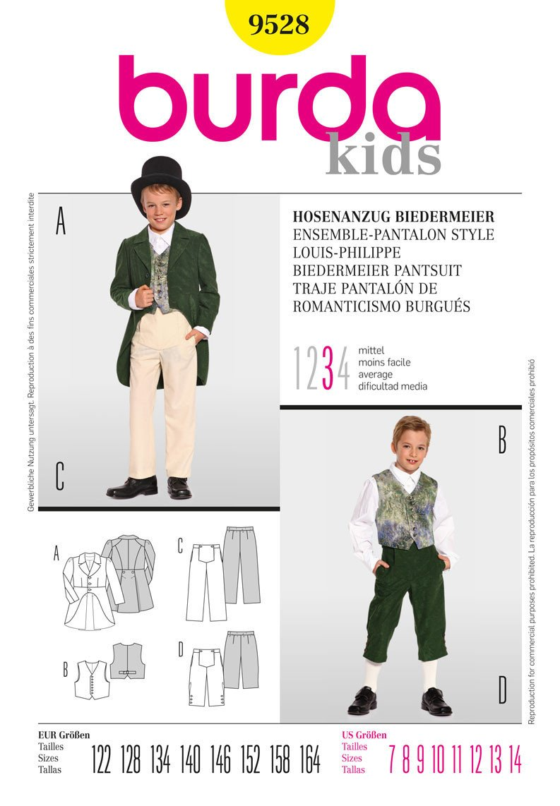 BD9528 Boys' Trousers & Tails from Jaycotts Sewing Supplies
