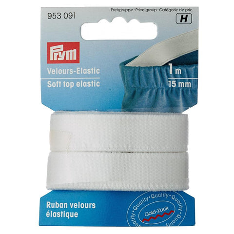 Prym velour soft top elastic in black or white from Jaycotts