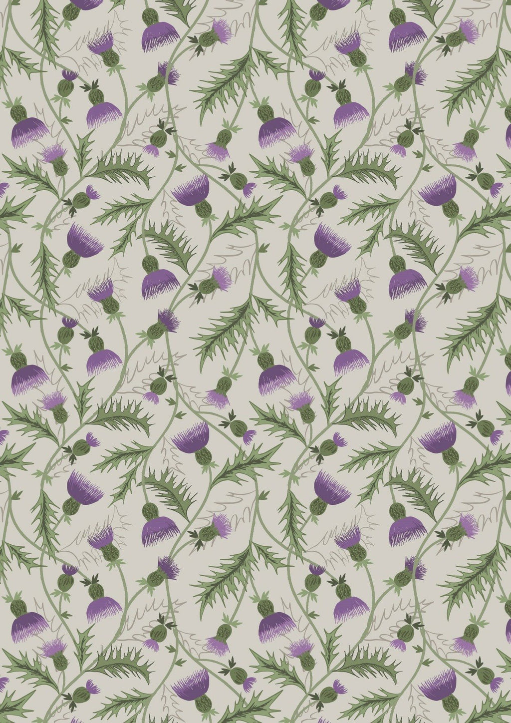 Lewis and Irene Celtic Coorie 100% Cotton Fabric | All Over Thistle on Cream from Jaycotts Sewing Supplies