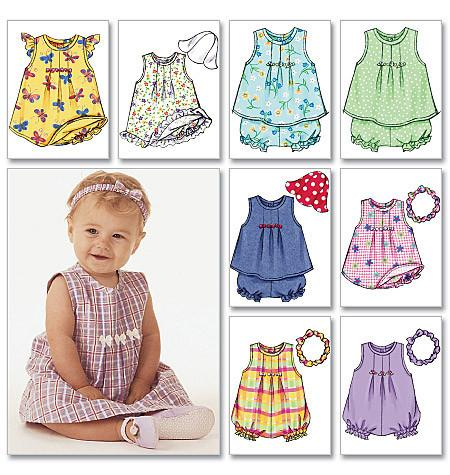 B3405 Infants' Dress, Top, Romper, Panties, Hat & Headband