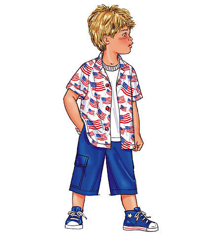 Butterick Sewing Pattern B3475 for boy's shirt & shorts