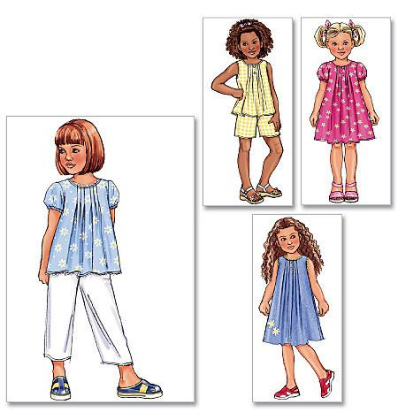 B4176 Girls' Top, Dress, Shorts & Pants | Very Easy