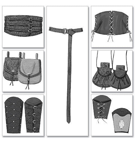 B5371 Misses'/Men's Historical Wrist Bracers, Corset, Belt & Pouches