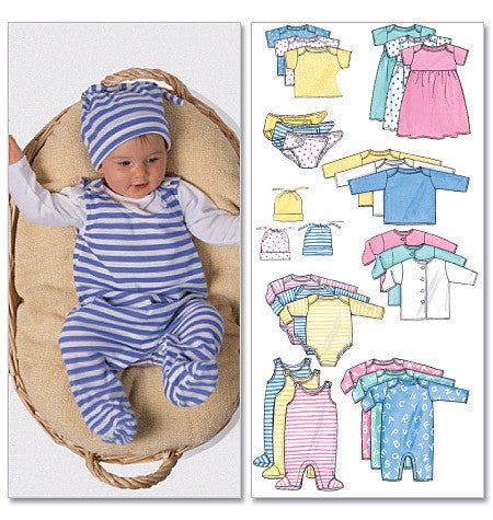 B5585 Infants' Jacket, Dress, Top, Romper, Diaper Cover & Hat