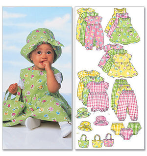 B5624 Infants' Dress, Jumper, Romper, Jumpsuit, Panties, Hat & Bag