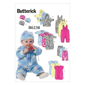 B6238 Infants' Jacket, Overalls, Pants, Bunting and Hat