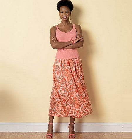 B6326 Misses' Raised-Waist or Elastic-Waist Skirts