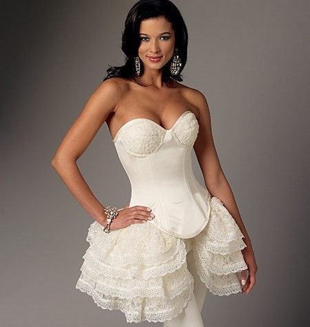 B6338 Curved-Hem Corsets and Skirts