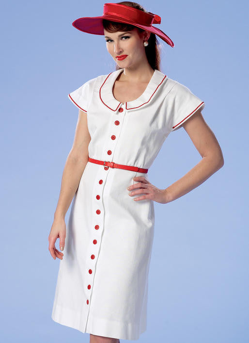 B6363 Button-Front, Flutter Sleeve Dresses