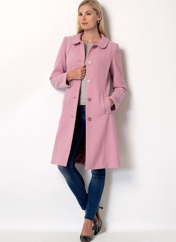 B6385 Misses' Funnel-Neck, Peter Pan or Pointed Collar Coats