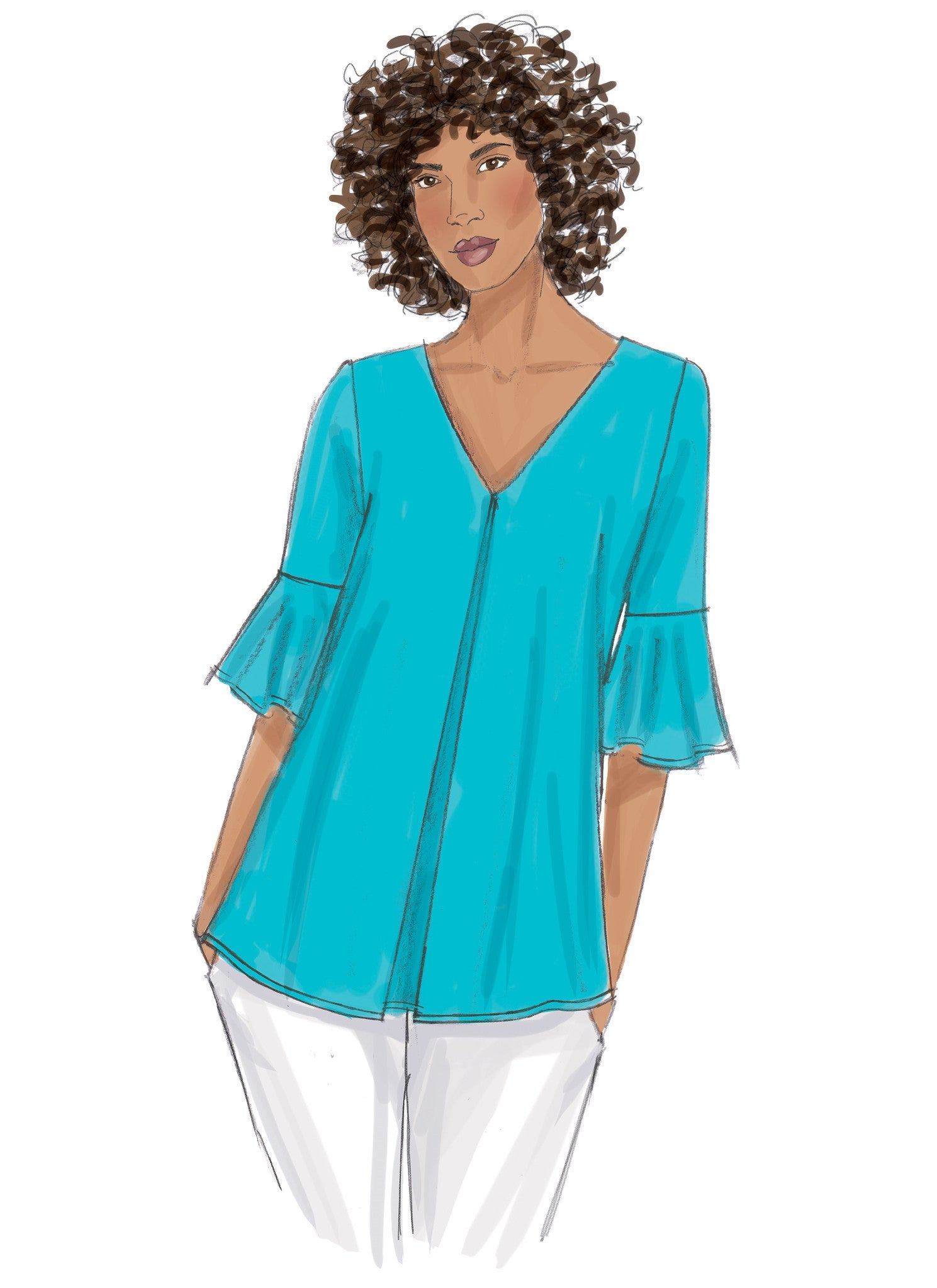 B6456 Misses' Tulip or Ruffle Sleeve Tops