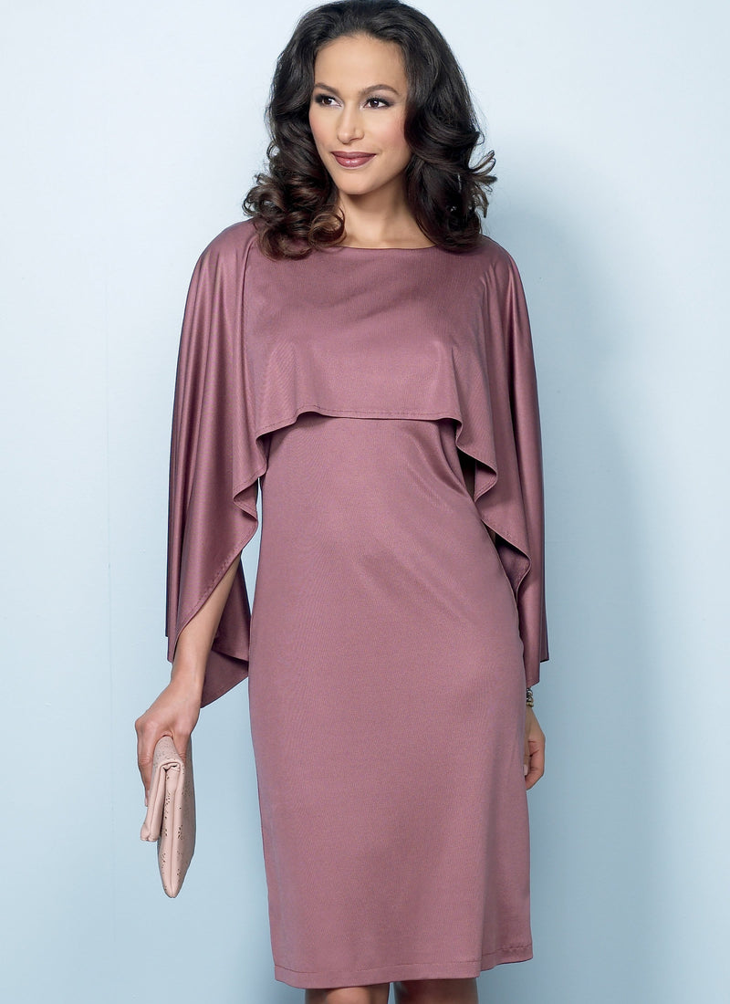 B6479 Pullover Dresses with Attached Capelets