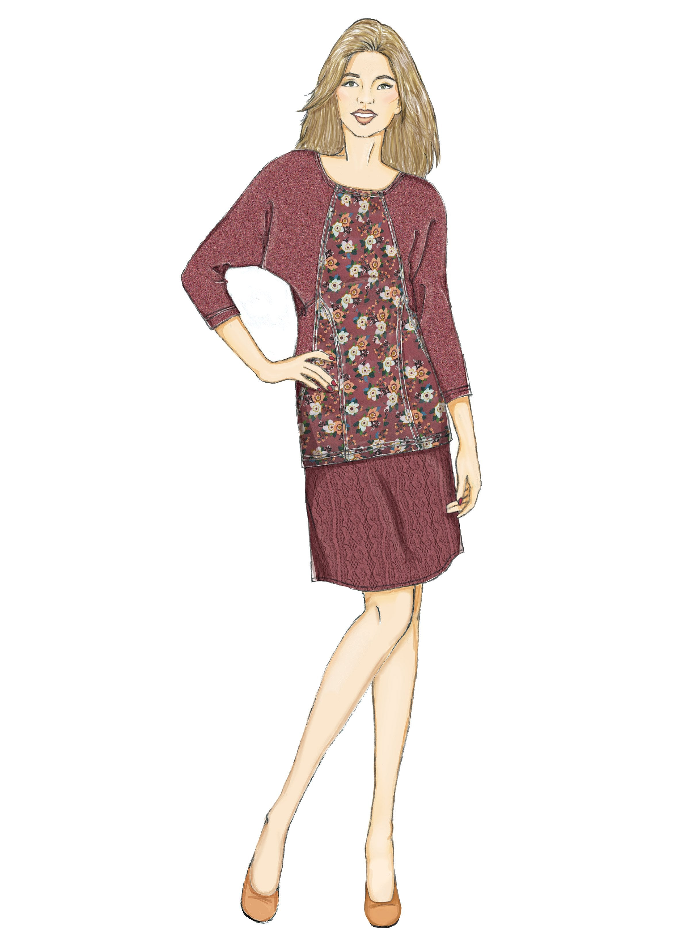B6525 Misses' Knit Dress and Tunic, Skirt, and Pants