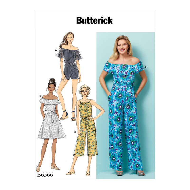 B6566 Misses'/ Petite Dress,Romper, Jumpsuit Pattern