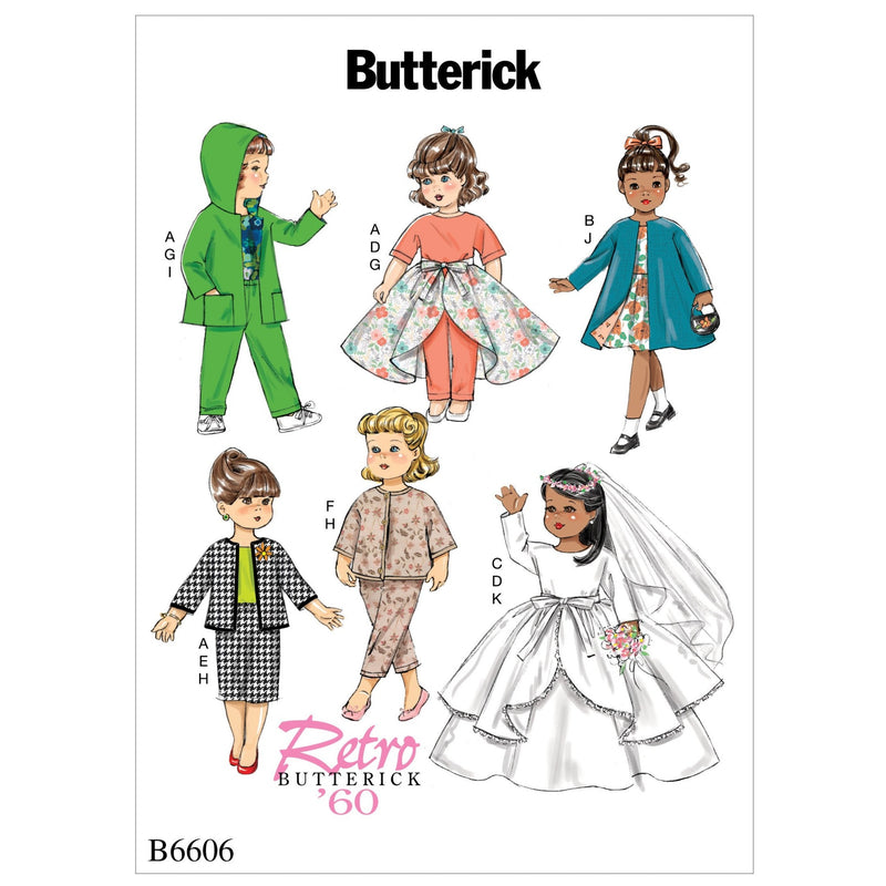 "B6606 Pattern for Clothes For 18"" Doll"