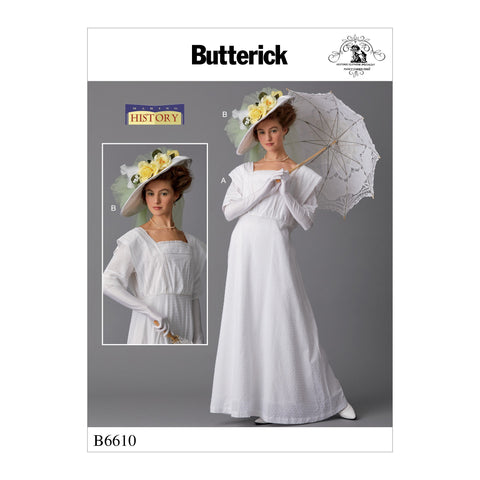 B6610 Misses' Historical Costume and Hat Pattern