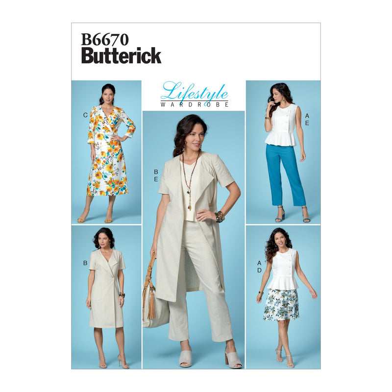 Butterick B6670  Top, Dress, Skirt and Pants Sewing Pattern