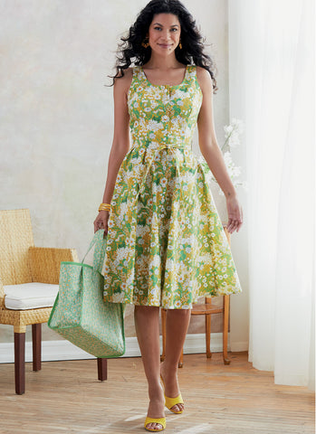 Butterick B6674 Misses' Dress, Sash and Bag | Easy