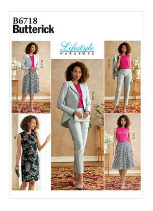 Butterick 6718 Jacket, Dress, Top, Skirt, Pants Pattern from Jaycotts Sewing Supplies