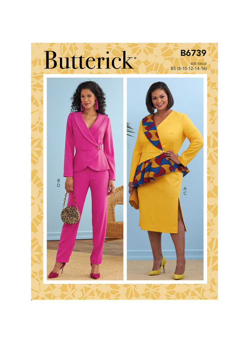 Butterick Sewing Pattern 6739 Jacket, Dress, Top, Skirt and Pants