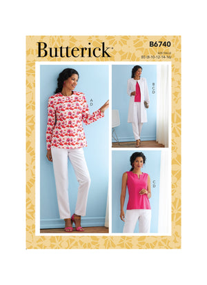 Butterick Sewing Pattern 6740 Jacket, Coat, Top and Pants from Jaycotts Sewing Supplies