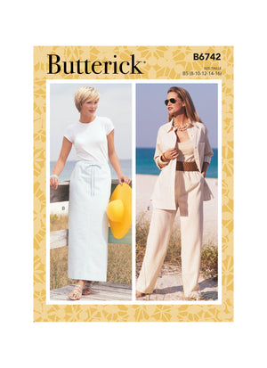 Butterick Sewing Pattern 6742 Misses'/ Petite Elastic-Waist Skirts, Shorts and Pants