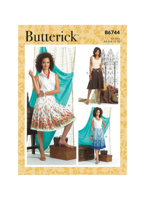 Butterick Sewing Pattern 6744 Misses' Pleated or Flared Skirts from Jaycotts Sewing Supplies