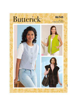 Butterick Sewing Pattern 6745 Misses' Waistcoats from Jaycotts Sewing Supplies