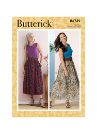 Butterick Sewing Pattern 6749 Misses' Gathered-Waist Skirts