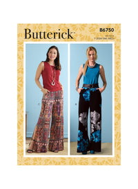 Butterick Sewing Pattern 6750 Misses' Elastic-Waist Shorts and Pants from Jaycotts Sewing Supplies